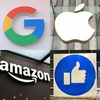 GAFAと呼ばれる米IT4社のロゴやアイコン。左上から時計回りにグーグル、アップル、フェイスブック、アマゾン・コム