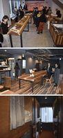 [上]右側が物産販売のマルシェ、中央のテーブルはカフェの立食スペース[中]2階のレストラン[下]二段ベッドが並ぶドミトリー=東京都渋谷区