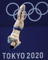 男子板飛び込み決勝 寺内健の5回目の演技=東京アクアティクスセンター