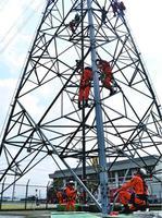 高所救助訓練を行う隊員=阿波市市場町の送電鉄塔