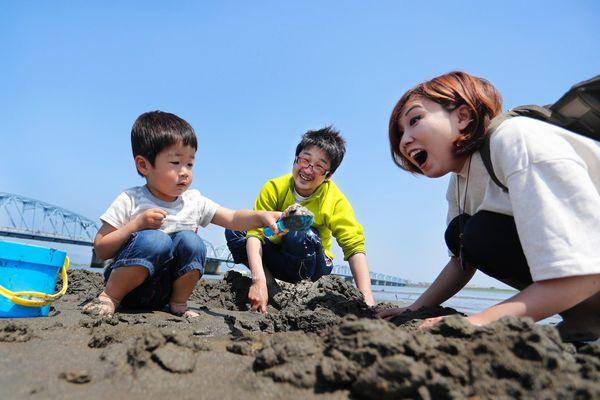 潮干狩りを楽しむ家族連れ=徳島市上助任町の吉野川南岸