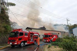 煙を上げる木材工場の倉庫=3日午後3時55分ごろ、徳島市入田町内ノ御田