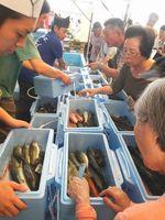 徳島産の新鮮な鮮魚が並んだ徳島県フェア=堺市の堺中央総合卸売市場