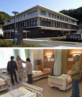 【写真上】町立2病院を再編して高台に新設された町立美波病院【写真下】内覧会で病室を見学する来場者=いずれも同町田井