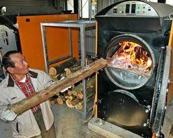 燃料費削減などの効果が出ている薪ボイラー=三好市三野町の紅葉温泉