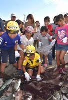 地引き網で水揚げされた魚を捕る子どもら=鳴門市の亀浦漁港