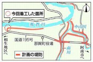 土佐地区周辺の堤防の完成イメージ。右が那賀川(県提供)