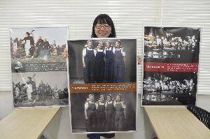 古い白黒写真をカラー写真のように加工した徳島大大学院生=徳島大常三島キャンパス