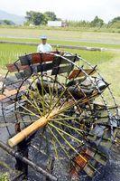 勢いよく回り、田んぼに水を送る水車=小松島市田浦町の田浦用水