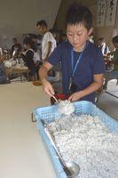 清掃後、参加者に提供される釜揚げシラス=小松島市和田島町