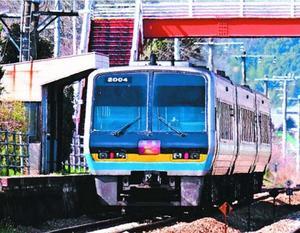 三縄駅を通過する特急「南風」で運用される2000系気動車=11日、三好市池田町