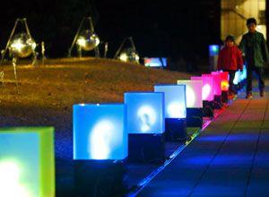 人に反応してLEDの色が変わる作品=徳島大常三島キャンパス