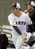練習で汗を流す巨人・桜井=川崎市のジャイアンツ球場(球団提供)