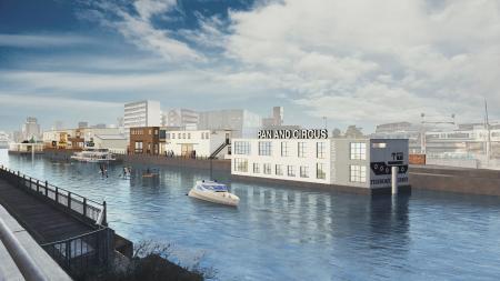河川に浮かぶホテルを備えた複合商業施設のイメージ(リタウン提供)