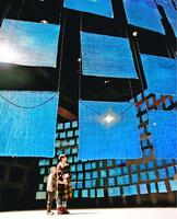 スミソニアン・アメリカ美術館に展示されることになった「藍のけしき」=県立21世紀館、2018年1月