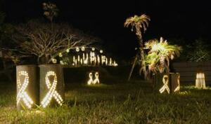 パンダが食べ残した竹を使った明かりで中庭を照らす「竹あかりガーデン」=4月、和歌山県白浜町