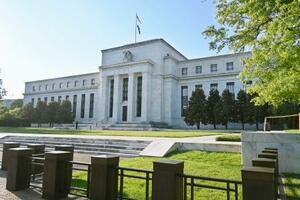 米連邦準備制度理事会(FRB)の建物=14日、ワシントン(共同)