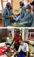 [上]豚の心臓を使ってザンビア人医師に心臓手術のトレーニングをする松村医師(右端)=2017年9月[下]心臓手術を終えた幼児を診る吉田医師(右)=同年11月、ザンビア大学付属教育病院(TICO提供)