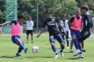 リーグ戦再開に向けてトレーニングを続ける徳島ヴォルティスの選手たち=29日、板野町の徳島スポーツビレッジ