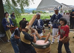 花しょうぶ祭りで三味線餅つきに飛び入り参加した子ども=美馬市美馬町の寺町公園