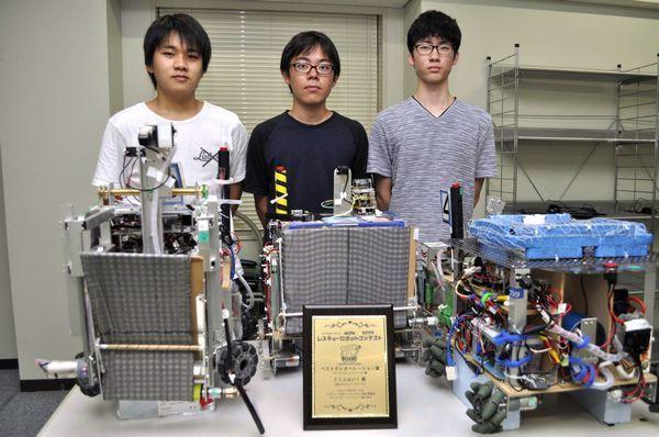 レスキューロボットコンテストで総合2位に輝いた徳島大チームのロボット=同大常三島キャンパス