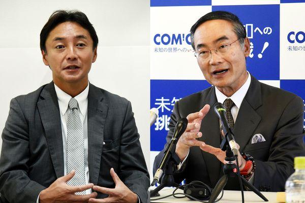 写真を拡大 知事選を巡り、対立する後藤田代議士(左)と飯泉氏