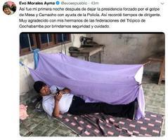 11日、南米ボリビアのモラレス大統領が「大統領職を離れて初めての夜」と投稿したツイッター(AP=共同)