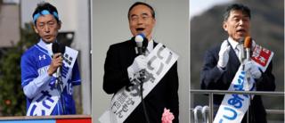 知事選立候補の3氏、徳島市内で第一声