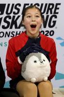 全米フィギュア女子フリー、キス・アンド・クライで笑顔を見せるアリサ・リュウ=24日、グリーンズボロ(ゲッティ=共同)