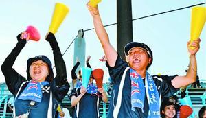 1回戦の那賀戦で好機に得点し、スタンドで歓声を上げる池田辻の森脇さん(右)と森下さん=鳴門オロナミンC球場