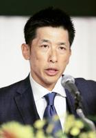 就任記者会見に臨むプロ野球阪神の矢野燿大新監督=18日午後、大阪市