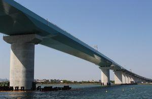 徳島市津田海岸町から見上げた徳島南部自動車道・新町川橋。全長500メートルで新町川の最下流部に架かる