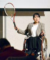 「車いすテニスに打ち込むことで自分が望む生き方ができている」と話す岡部さん=徳島市の徳島グランヴィリオホテル