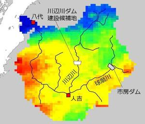 球磨川流域周辺の4日午前10時までの24時間降水量。青、緑、黄、赤の順に多くなる。(野原大督・京都大助教提供)