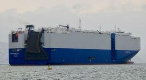 UAE沖で攻撃を受けたイスラエル関連の船舶=2020年10月、スロベニア(ロイター=共同)
