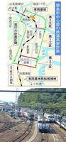 徳島駅北側の車両基地。高架事業が停滞し、移転計画も前に進んでいない=徳島市