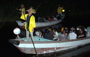 高瀬舟に乗りホタルの見物を楽しむ家族連れら=海陽町の母川