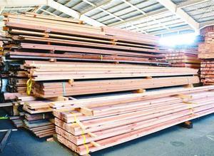 品不足や価格の上昇が深刻になっている木材製品=徳島市の県木材センター協同組合