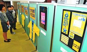 住民投票を呼び掛けるチラシなどを展示したパネル展=徳島市昭和町3のヒューマンわーくぴあ徳島