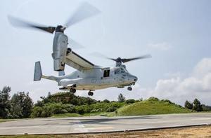 米海兵隊の第31海兵遠征部隊の訓練に参加した輸送機オスプレイ=7月30日(米軍提供)