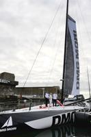 白石康次郎さんが世界一周ヨットレース「バンデ・グローブ」に挑戦するため新造されたヨットの進水式=11日、フランス・ロリアン(共同)