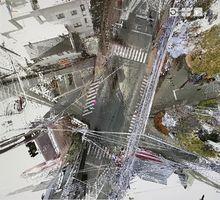 3Dレーザースキャナーで作成した県警本部前の画像。さまざまな角度からの視点にスクロールできる