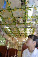 列車内の天井を風鈴やヒマワリの造花で彩った風鈴列車