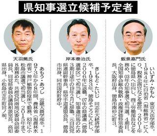 徳島県知事選21日告示 現職と2新人が立候補へ