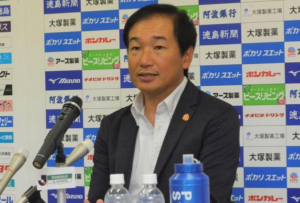 山口の霜田監督=鳴門ポカリスエットスタジアム