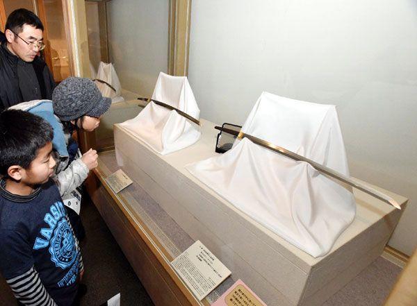 名刀を鑑賞する来場者=徳島城博物館