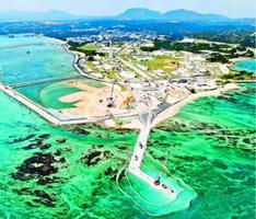 米軍普天間飛行場の移設先として、埋め立てが進む沖縄県名護市辺野古の沿岸部=3月13日(小型無人機から)