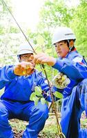 カズラの苗木を植える生徒=三好市東祖谷の国有林